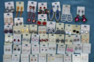 Earrings x 50 Pairs Costume / Fashion Jewellery Stud & Drop Mix Job Lot Car Boot