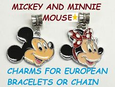 MICKEY MOUSE & MINNIE Disney Charm For European Style Bracelets Chain Necklace 2