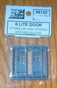 Tichy Train Group HO #8150 6-Light, 3-Panel Door (Gray Styrene) -- Single