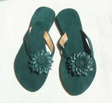 SUEDE FLIP FLOP SANDALS MADE IN BALI, GREEN COLOR & FLOWER LEATHER, S001