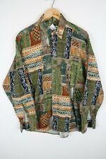 Vintage Mens 90S abstract crazy print festival shirt SIZE MEDIUM (C731)