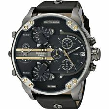DIESEL DZ7348 Mens Watch Mr Daddy 2.0 Black dial Black Leather Chronograph NEW