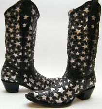 WOMENS CORRAL 2040 BLK SILVER STAR INLAY LEATHER COWBOY WESTERN BOOTS 7.5~1/2 M