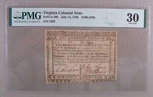 1780 Virginia $100 Colonial Currency Note PMG Very Fine 30