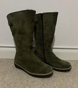 Vitaform Luftpolster Olive Green Suede Winter Boots Size 6 NWOB