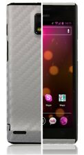 Skinomi Carbon Fiber Silver Skin Cover+Screen Protector for Huawei Ascend P1