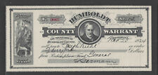 1924 HUMBOLDT COUNTY WARRANT STATE OF NEVADA ANTIQUE CHECK  GREAT GRAPHICS !