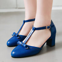 Women's Mary Jane Pumps Shoes Bowtie T-Strap Pointed Toe Chunky Heel Sandals