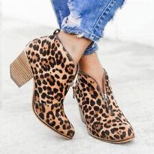 Womens Low Mid Block Heel Ankle Boots Ladies Zip Up Smart Work Business Shoes