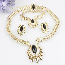 Beautiful Cheap Black Red African Gold Plated Wedding Party Bridal Jewellery Set