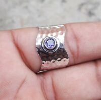 Amethyst 925 Sterling Silver Band Ring Meditation Ring Size SRR34