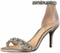 BADGLEY MISCHKA Womens Caroline Fabric Open Toe Special, Champagne, Size 7.5 jZ9