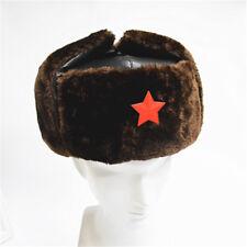 Chinese Russian Army Trooper Winter Hat Ushanka Green Warm Cap Red Star Badge