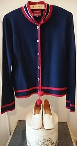 Navy Blue/Red Cashmere/Wool LION OF PORCHES Cardigan with PomPoms. Size M