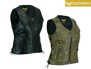 Ladies Leather Vest Laced up Vintage Motorcycle Club Leather Sleeveless Jacket
