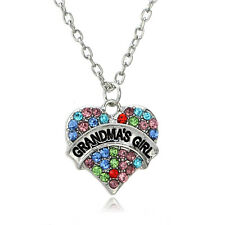 Grandma's Girl Love Heart Colorful Crystal Pendant Necklace Grandmother Gift New