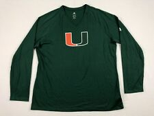 NEW adidas Miami Hurricanes - Green Clima-lite Long Sleeve Shirt (2XL)
