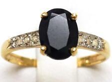 SYJEWELLERY 9CT YELLOW GOLD NATURAL BLACK SAPPHIRE & DIAMOND RING SIZE N R1275