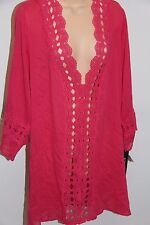 NWT La Blanca swimsuit bikini Cover Up Tunic Dress Sz L PNK
