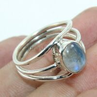 Rainbow Moonstone Gemstone 925 Sterling Silver Ring Jewelry - ANY SIZE