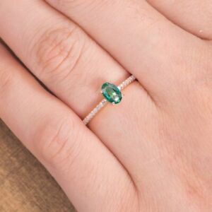 14k Rose Gold Oval Cut Green Emerald May Birthstone Women's Engagement Ring 1Ctw