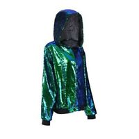 GREEN Sequin Hoodie - Festival Hooded Jacket - Various Sizes 8-16