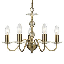 Searchlight Monarch 5 Light Antique Brass Clear Glass Ceiling Fitting Chandelier