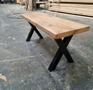 CHUNKY SOLID OAK BENCH - RUSTIC - HAIRPIN - INDUSTRIAL- FARMHOUSE
