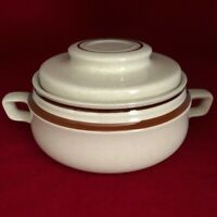 Contemporary Chateau Stoneware Hand Painted Bean Pot Casserole Japan Brown