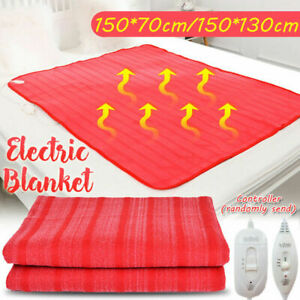 Electric Heated Throw Over Under Blanket Fleece Washable Polyester Warm Mattress