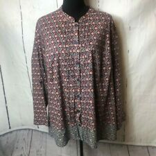 Catherines Womens Blouse Size 3X Petite Blue Red Tunic Long Roll Tab Sleeves