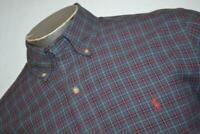 9272-a Mens Polo Ralph Lauren Dress Shirt Size Medium Blue Plaids