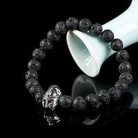Men's Black Lava Rock Stone Beaded Bracelet Charm Helmet Bracelet Jewelry Gift