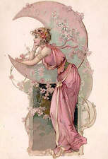 Lady in Pink , Pink Moon and Flowers by Alphonse Mucha