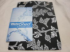 Park Smith WATERSHED Single Solution Shower Curtain FLORAL SWIRL ~ Black/White
