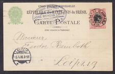 Brazil H&G 27a used 1898 100r Liberty Postal Card to Leipzig, Germany
