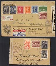 NETHERLANDS 1940's TWO WAR TIME COVERS ONE REGISTERED TILBURG & BOTH CENSORED