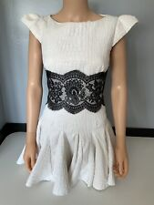 philip armstrong Couture  Cream & Black Lace Dress Uk 8-10 Vgc  Cap Sleeve