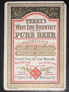 Playing Swap Cards 1 Rare Australian Wide 1890's Terry's Brewery Melb Beer Advt