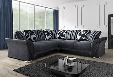 NEW LARGE SHANNON SOFA CORNER 5 or 4 SEATER GREY BLACK FABRIC & LEATHER COUCH