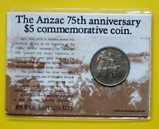 AUSTRALIA 5 DOLLARS 1990 COMMEMORATIVO ANZAC 75 ANNIVERSARIO