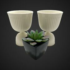 (2) Wedgwood Barlaston Ivory Edme Queensware Double Egg Cups Vintage Pair