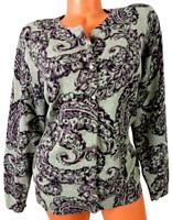 Croft & barrow gray paisley print button down long sleeve cardigan sweater 1X