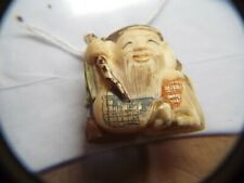 New listing Old Hand Made And Painted Netsuke Signed Figure