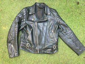 "Vintage retro 70s Leather Biker motorbike jacket size men's 42"""