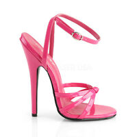 """Domina 108 Hot Pink Patent High 6""""  Heels Ankle Strap Sandals Shoes Size 5-16"""