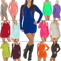 New Womens Ladies Plain V-Neck Knit Knitted Long Jumper Dress Size 8-14 S M L XL
