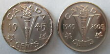 1945 AND 2005P CANADA 5¢ VICTORY NICKEL COINS