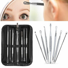 7Pc Kit Face Nose Blackhead Pimple Blemish Comedone Acne Extractor Remover Tools