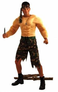 Herren Kostüm Dschungel Kämpfer mit Muskeln Gr. M Combat Rambo Fighter
